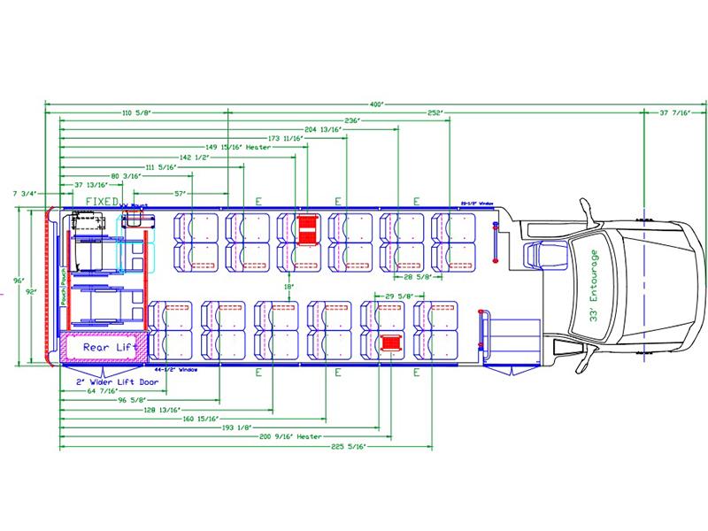 Glaval Entourage Shuttle Bus Seating Diagram 16C20172 A Z Sales