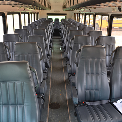 Blue Bird T3RE Interior Seating with Overhead Luggage Rack