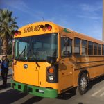Front view of Blue Bird Type D All American Electric School Bus