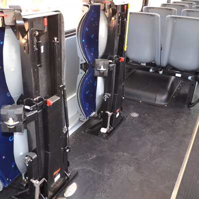 Blue Bird Commercial Bus Interior Fold Up Seats for Wheelchair Placement