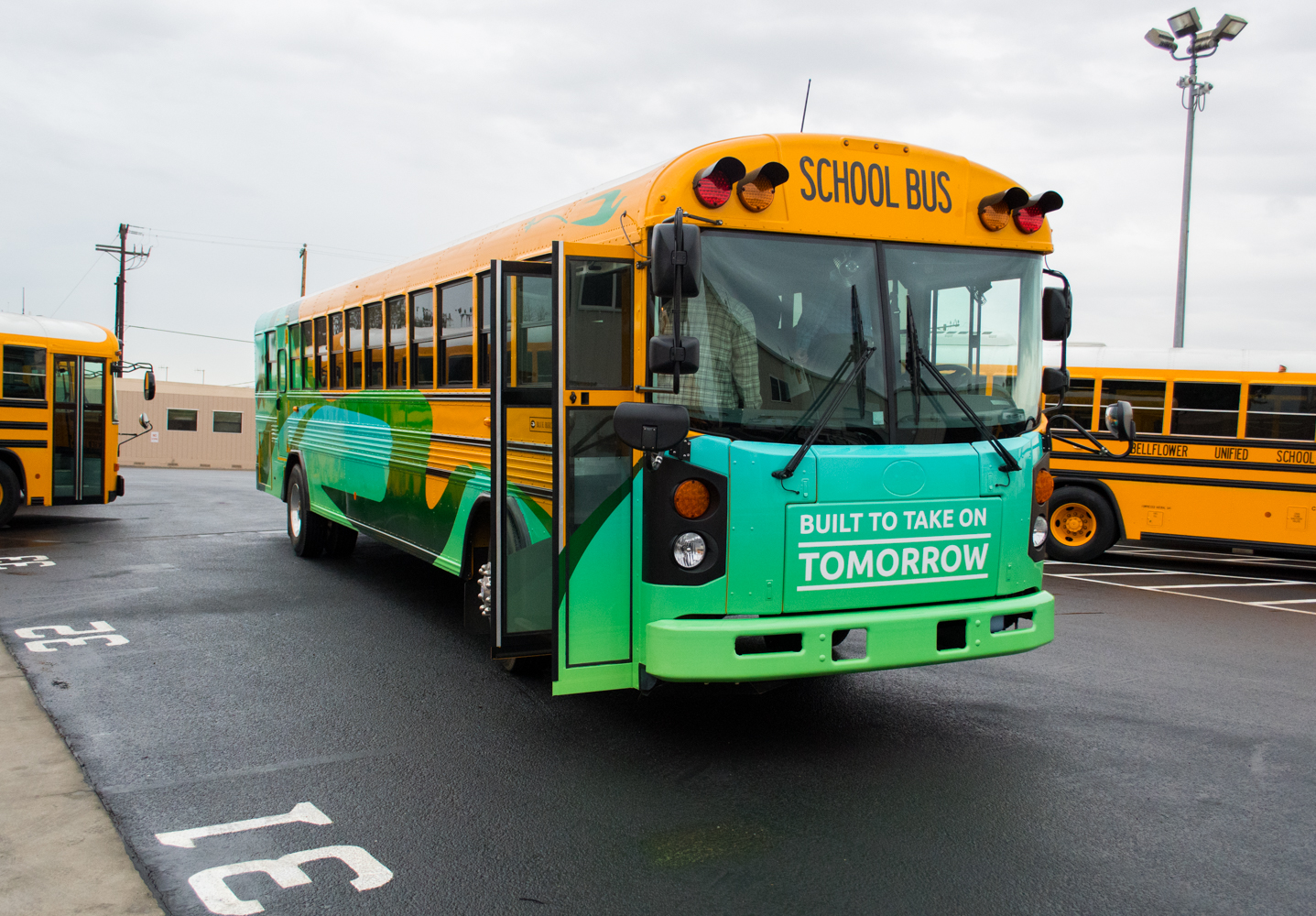Blue Bird Bus >> Electric School Bus Ride and Drive Starts in Bellflower, California
